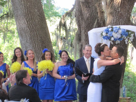 Jack Edmonds performs wedding ceremony service at Kanapaha Botanical Gardens