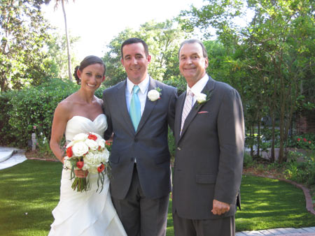 Jack Edmonds with the newly married couple at Sweetwater Branch Inn Wedding Location