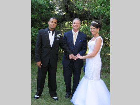 Jack Edmonds with bride and groom at Kanapaha Botanical Gardens