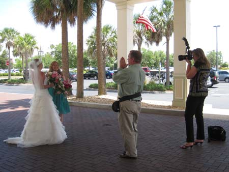 Professional photographers shooting for the wedding
